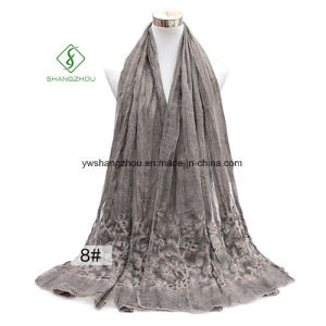 Tie-Dyed Retro Style Shawl Lady Fashion Scarf with Embroidery pictures & photos