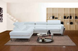 Modenr Cheap Living Room Furniture White Sectional Leather Sofa with L Shaped pictures & photos