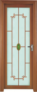 Wood Grain Aluminum Casement Door with Tempered Glass pictures & photos