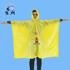 Cheap Colord Waterproof Hooded PVC Poncho pictures & photos
