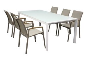 Powder Coating Aluminum Dining Set Textylene Outdoor Dining Set Batyline Chair pictures & photos