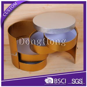 Gold Foil Double Door Design Premium Perfume Cylinder Round Box pictures & photos