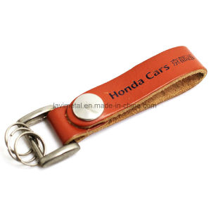 Cheap Customized Blank Metal Spinning PU Leather Keychain pictures & photos