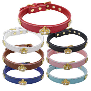Quality Crown Rhinestones PU Leather Pet Collars Dog Leashes pictures & photos