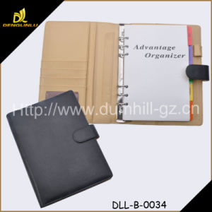 A5 Size Handmade PU Leather Notebook File Folder with Pen pictures & photos