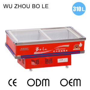 Hot Sale Bevel Glass Door Seafood Freezer with LED Light