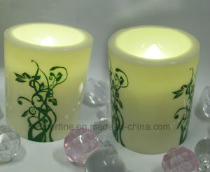 Pattern Printed Pillar Plastic Ivory Color Candle with Soft Warm White Light Flickering pictures & photos