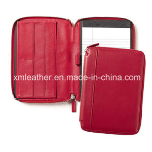 Red Leather Zipper Closure Notepad File Folder with Card Holder pictures & photos