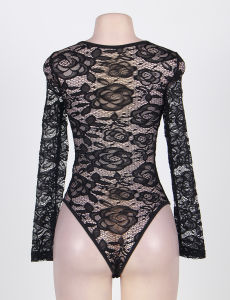 New Design Super Brand OEM Services Transparent Lace Hollow out Floral Teddy pictures & photos
