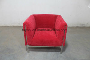 Red Color Canvas Fabric with Shiny Stainless Steel Frame Chair pictures & photos