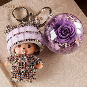 Preserved Fresh Flower Monchhichi Keychain for Gift pictures & photos