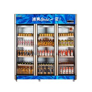 Upright Opening Multi-Door Beverage Refrigerator with Three Automatic Doors pictures & photos