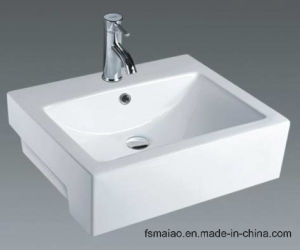 China Manufacturer Sanitary Ware White Solid Surface Bathroom Countertop Ceramic Wash Basin (7033D) pictures & photos