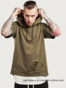 Cool Mens Short Sleeve Hoodie with Destroyed Design for 2017 Collections pictures & photos