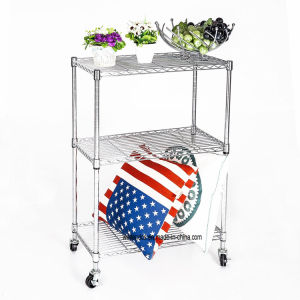 "3 Tier Chrome Metal Wire Shelving Cart with 2"" PP Screw Casters, 75X35xh96cm pictures & photos"