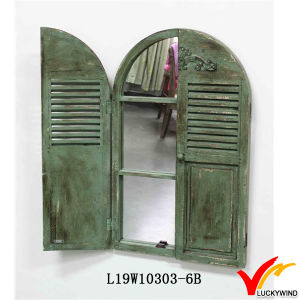 Antique Vintage Green Handmade Decorative Wooden Window Shutter Mirror pictures & photos
