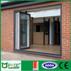 Aluminum Accordion Folding Doors with Double Glass Pnoc0009bfd pictures & photos
