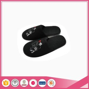 Black Terry Towel Slippers for Home and Hotel Use pictures & photos