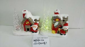 Colorful Ceramic Christmas Light House with LED Light Inside for Decoraiton pictures & photos