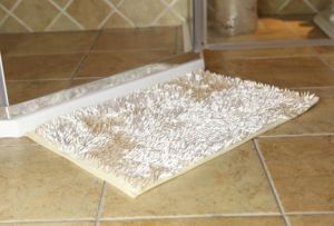 Shiny High Pile Bathroom Floor Mat with Anti Slip Base