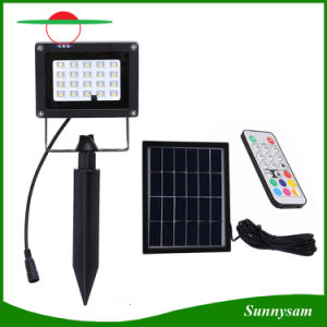 20 LEDs Solar Light Color Changing RGBW Outdoor IP65 Waterproof Remote Control LED Flood Light for Garden Lawn Pathway pictures & photos