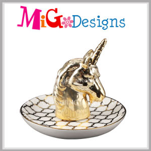 Elegant Animal Shaped Ceramic Ring Holder with Electroplating pictures & photos