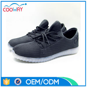 Newest Design Flyknit Upper LED Shoes Light Running Sneaker