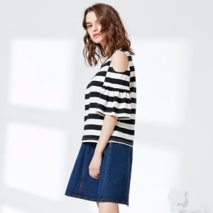 Ladies Fashion off Shoulder Flare Sleeve Preppy Blouse pictures & photos