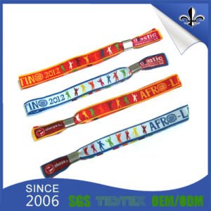 Custom Personalized Cloth Woven Wristbands with Plastic Locking Sliders pictures & photos
