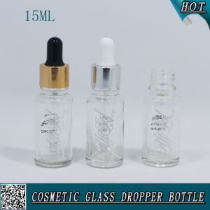 15ml Transparent Glass Dropper Bottle Essential Oil Bottle with Hot Stamping pictures & photos