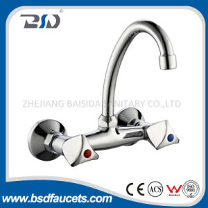 Economic Dual Handles Wall Mounted Basin Sink Faucet pictures & photos