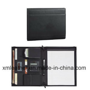 A4 Functional Business Leather Portfolio File Folder with Calculator pictures & photos