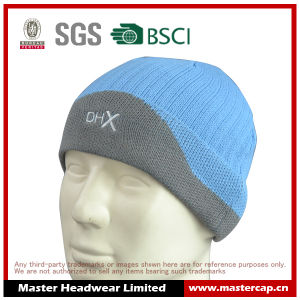 100% Acrylic Flat Embroidery Cuff Beanie Knitted Hat pictures & photos