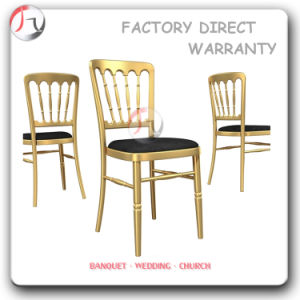 Golden Frame Black Fabric Cushion Ballroom Chairs (AT-164) pictures & photos