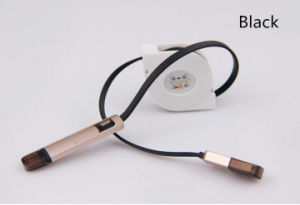 Retractable 2 in 1 Unremovable USB Cable for iPhone (LCCB-049) pictures & photos