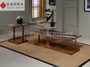 Square Coffee Table with White Marble Top and Steel Leg pictures & photos