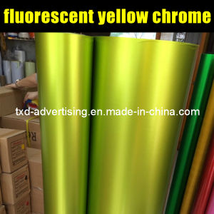 Fluorescence Yellow Chrome Matt Vinyl Film with Air Free Bubbles