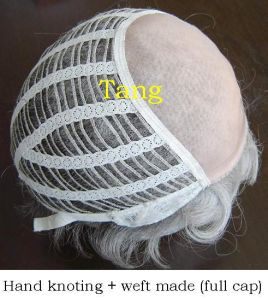 Human Hair Hand Knotted and Weft Full Wig pictures & photos
