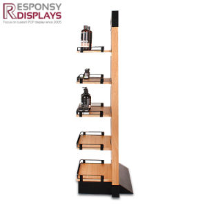 Floor Wood Body Wash Rack Metal Display Stand for Shower Gel pictures & photos