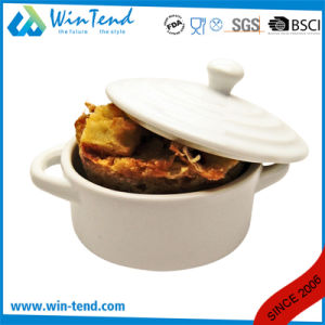 Hot Sale Commercial Restaurant Buffet White Porcelain Cocotte with Lid and Handle pictures & photos