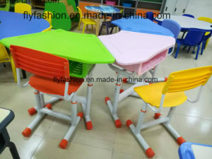 Children Furniture Plastic Desk and PP Chair Leg Height Adjustable pictures & photos