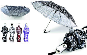 21inches, 3 Fold Windproof Animal Skin Printed Umbrella pictures & photos