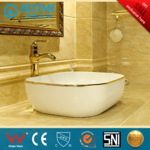 Sanitary Ware Golden Color Ceramic Basin Wash Sinkbc-7034G pictures & photos