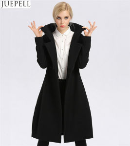 New Women Long Section Thick Wool Coat Factory Fashion Models Double-Breasted Women Polyester Coat pictures & photos