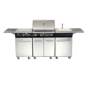 Double Lid Super Infrared Ss Gas BBQ Grill pictures & photos