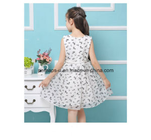 Fashion Flower Printing Lovely Princess Girls Dress with Waistband pictures & photos