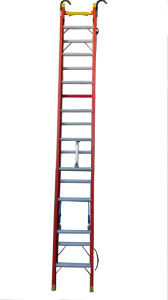 (375LBS) 35kv Red 5m Fiberglass Single-Side Grooved Rail Extension Ladder pictures & photos