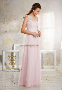 Bm01 One Shoulder Chiffon Top A-Line Full Length Pink Bridesmaid