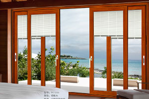 Cherry Wooden Color High Quality Balcony Aluminum Sliding Door