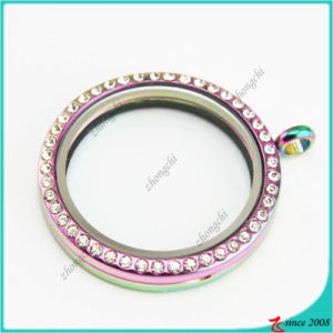 38mm Round Rainbow Glass Lockets Pendant for Neckalce
